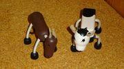 Pferd und Kuh Naturholzfiguren
