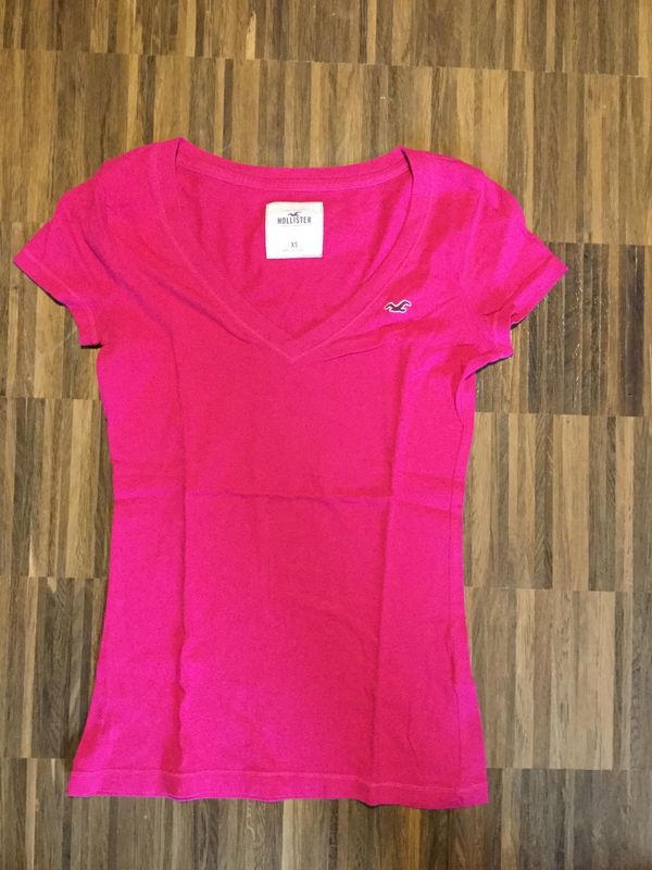 Hollister Kurzarmshirt Pink mit V-Ausschnittt