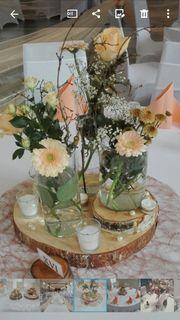 Hochzeitsdekoration Stuhlhussen Tischwäsche Kerzenleuchter Verleih