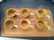 Teak Tablett mit 6 Teeglashalter