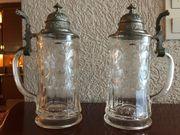 Antike Bierkrüge aus Glas mit