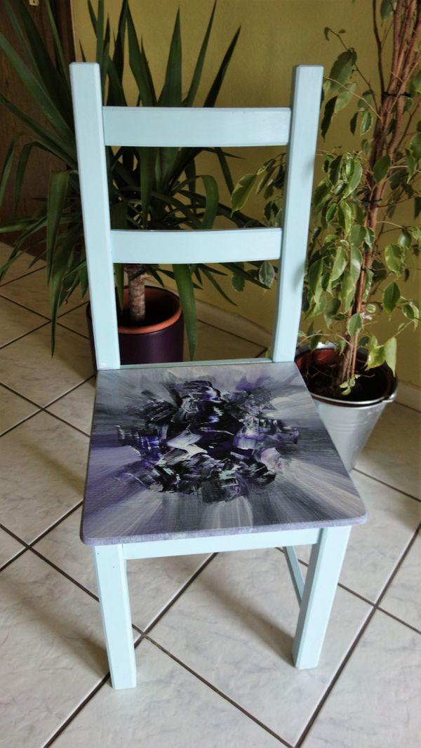 toller Stuhl abstrakt bemalt UNIKAT
