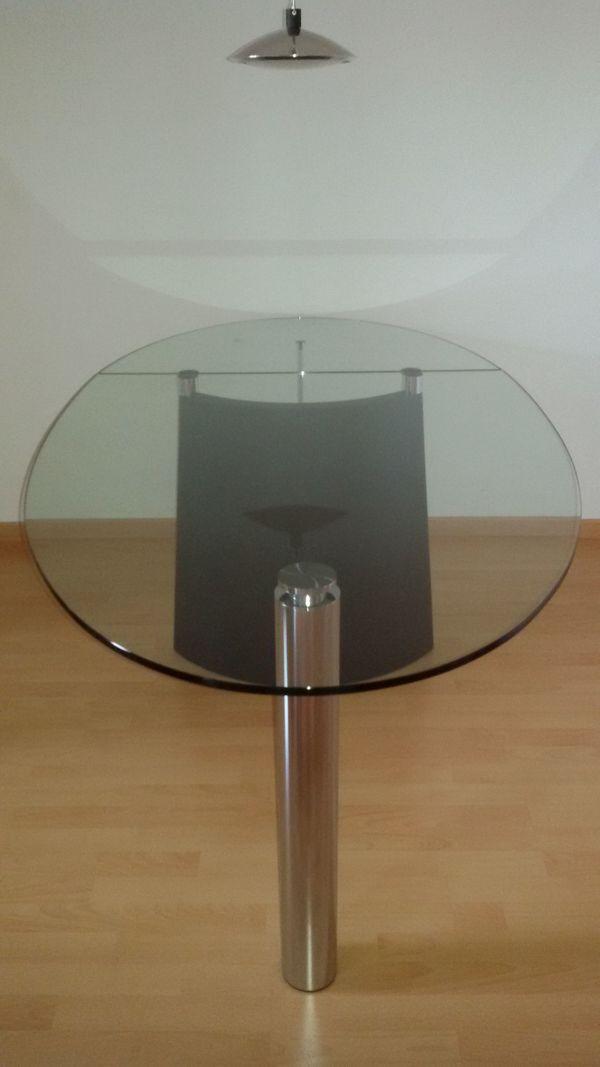 Designer-Esstisch aus Glas abklappbar