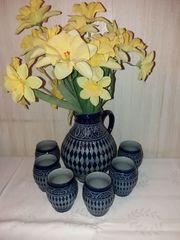 Keramikkrug Krug mit 6 Trinkgefäße