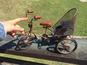 Kleines Metall deko Fahrrad Holzsitz