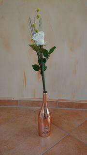 Kunstblume Rose weiß mit Vase