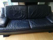 Sofa Ledercouch 3Sitzer dunkelblau gebraucht