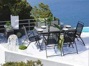 Gartenmöbel Set Stahl schwarz 6-Sitzer