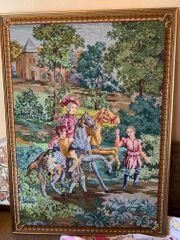 Edles farbenfrohes gesticktes Gobelin Wandbild