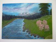 Handgemaltes Öl-Gemälde Alpenland signiert F