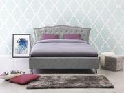 Polsterbett grau mit Bettkasten hochklappbar