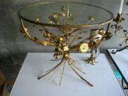 dekorativer Tisch Metall mit Glasplatte