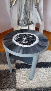 runder Holztisch abstrakt bemalt UNIKAT