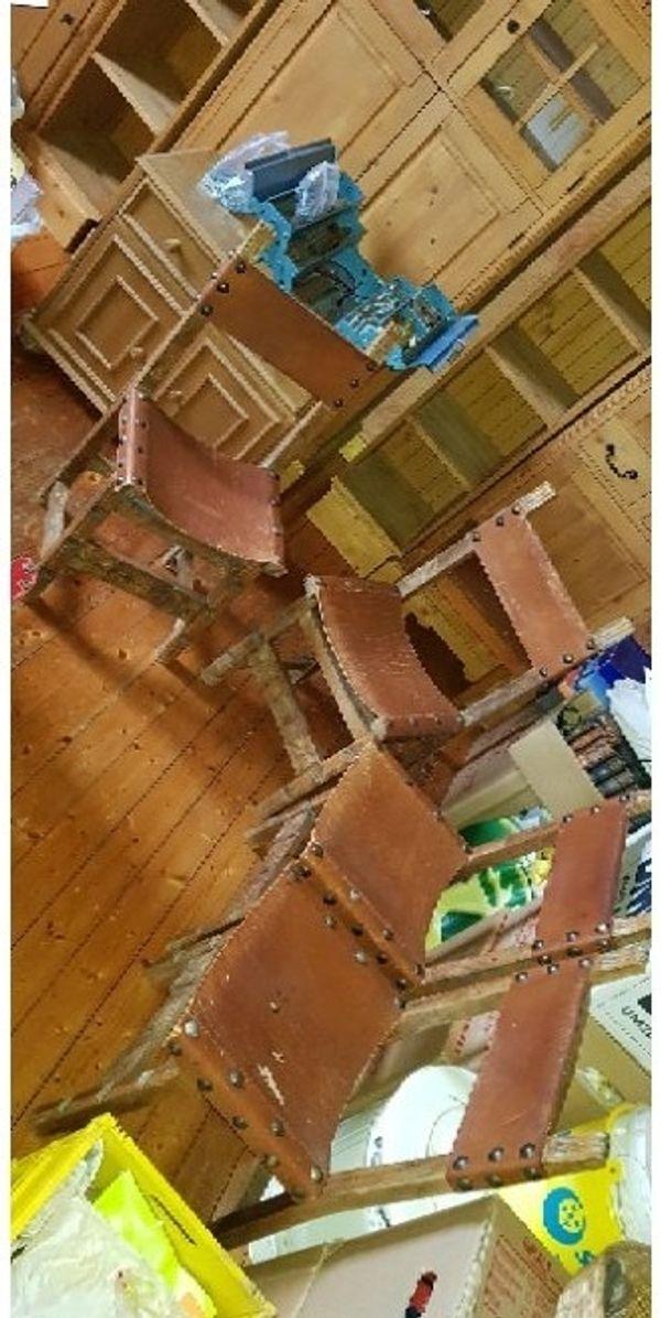 Mittelalter Ritter Stühle Stühle Massiv Holz Leder Barock