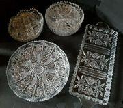 schönes Bleikristall- Set Servierplatte Dessertteller