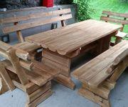 Massivholz Gartengarnitur Sitzbankgarnitur
