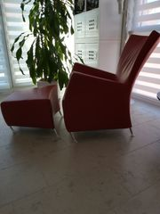 Designer Sessel mit Hocker Leder
