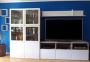 Wohnzimmer Wohnwand weiß mit Lowboard
