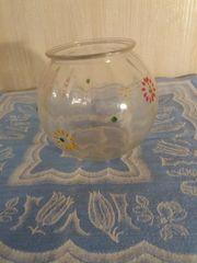 Bemaltes Kugel Glas Vase Vintage