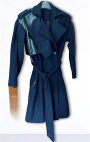 Muubaa Woll- Mantel Ledereinsatz blau