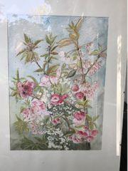 Aquarellgemälde Rosa Blütenpracht