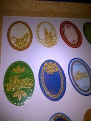 weihnachtliche Sticker oval und eckig
