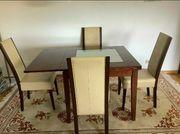 Tisch Echtholz mit Milchglas-Glasplatte Dunkelbraun