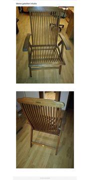 4 Massivholz Gartenstühle mit Auflagen