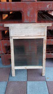 Antikes Waschbrett mit Glaseinsatz TOP
