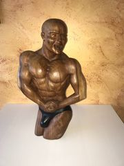 Bodybuilder XL Statue Unikat handgeschnitzt