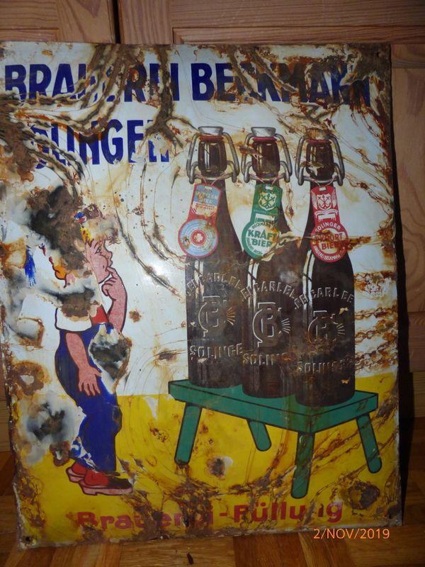 Schild Email Emaille Brauerei Beckmann