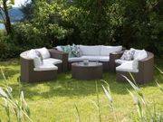 Lounge Set Rattan hellbraun 9-Sitzer