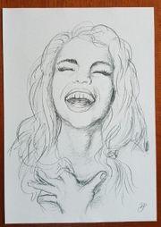 Zeichnung Druck Bild Sally Frau