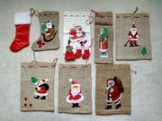 Weihnachten 8 Nikolausstiefel Jutesäckchen Stoffbeutel