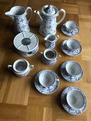 Vintage Porzellan indisch blau Kaffeeservice