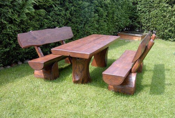 Massive Holzgarnitur Sinnesbank Sitzgruppe Gartengarnitur