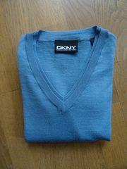 DKNY hellblauer Pullover Merinowolle Größe