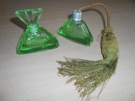 Frisier-Set /Parfumflakon - Glas grün - alt