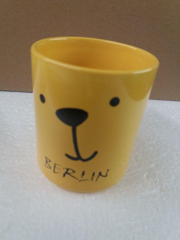 Tasse gelb Motiv Smiley Berlin