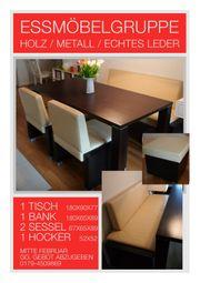 Essmöbelgruppe - Holz Echtleder Metall