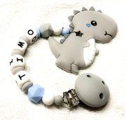 Beisskette aus Silikon Dino