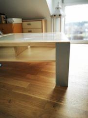 Hochwertiger Couchtisch Milchglas Holz 90x90cm