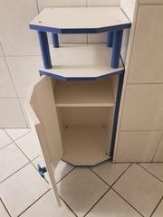 Verkaufe Badhochschrank in blau weiß