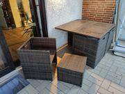 Rattan Gartentisch mit Stühlen und