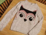 Kuscheliger Pullover flauschig weiß rosa