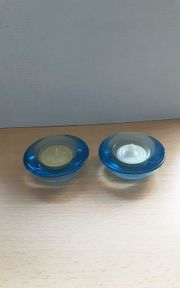 Leonardo Teelichthalter Glas hellblau