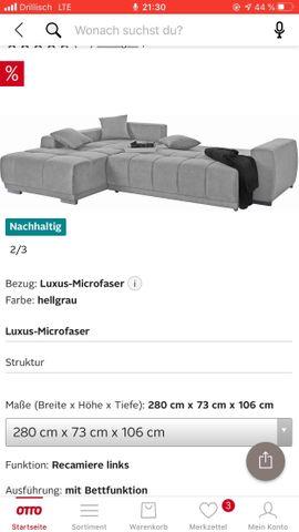 Polster, Sessel, Couch - Ecksofa Eckcouch mit Schlaffunktion grau