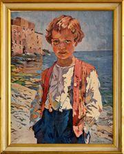 Schönes Gemälde v KOCH Strandjunge