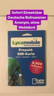 Lycamoblie Prepaid Sim Karte aktiv