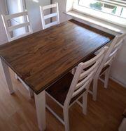 Esstisch mit 4 Stühlen weiß -